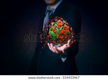 Effect  explosion on hand business man  - stock photo