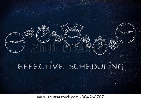 effective scheduling & time management: different clocks, stopwatches, alarms & gearwheels - stock photo
