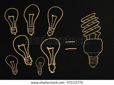 Efficient lamps concept illustration. Ecology conception - stock photo