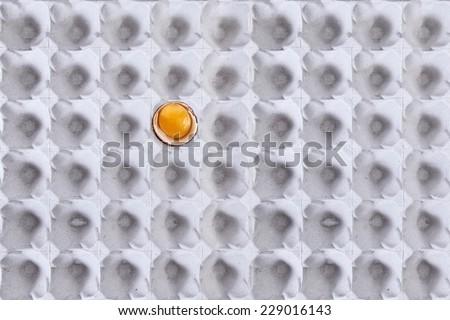 egg carton with broken egg - stock photo