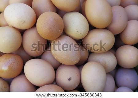 Egg, Chicken egg arrange for sale in local market - stock photo