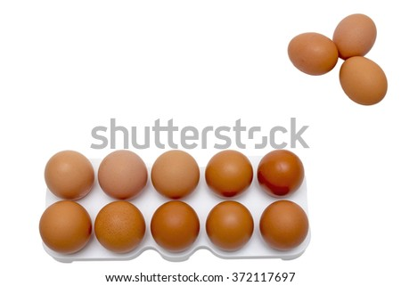 Egg, Chicken Egg,lots of eggs,white background,raw eggs,protein diet - stock photo