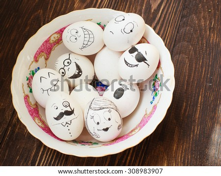 egg drawing, faces with different emotions - stock photo