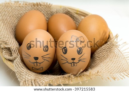 Egg, Easter eggs,  I draw a bunny on egg shells all. And this is my copyright. - stock photo