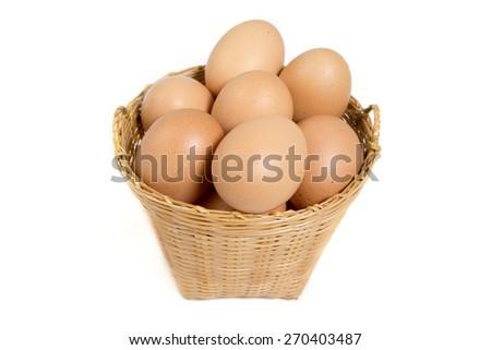 egg in weaving basket - stock photo