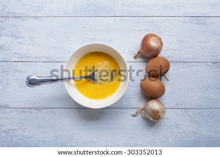 Egg menu preparation  - stock photo