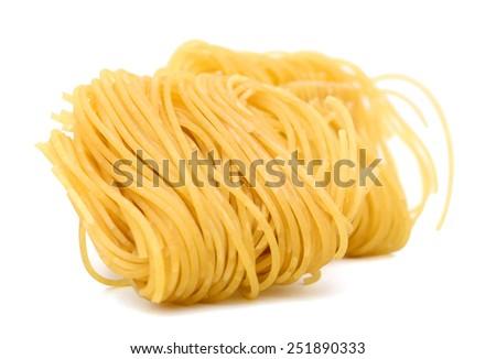 egg noodle isolated on white - stock photo