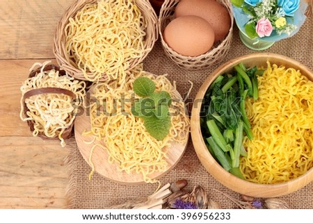 Egg noodles and raw noodle - stock photo
