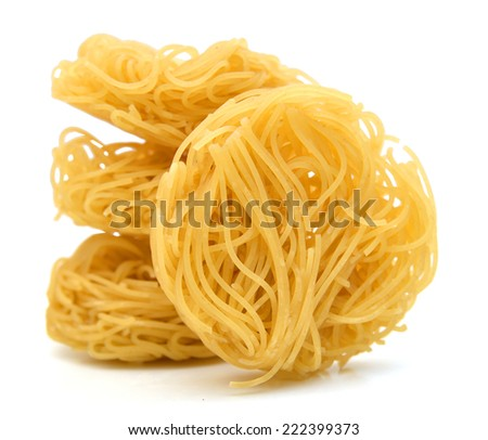 Egg noodles on a white background  - stock photo