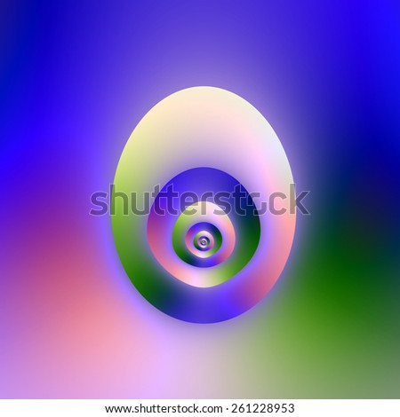 Egg or Window / A digital abstract fractal image with an egg shaped design or is it an egg shaped window in blue, green and pink. - stock photo