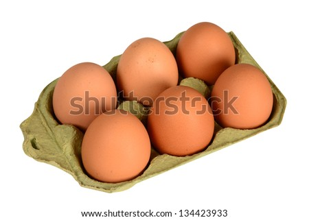 Egg packaging. Isolated - stock photo