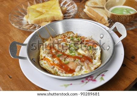 Egg Pan Breakfast Set Food - stock photo
