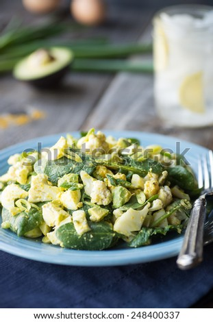 Egg salad with fresh cauliflower and curry vinaigrette - stock photo