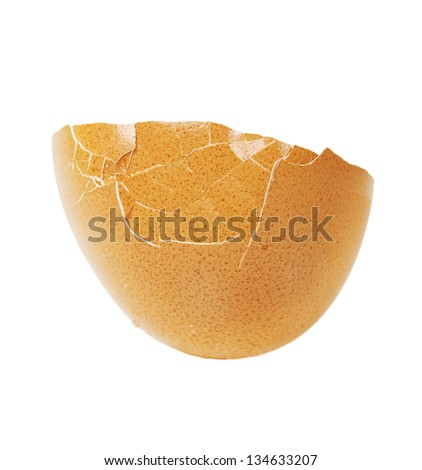 Egg shell isolated on white - stock photo