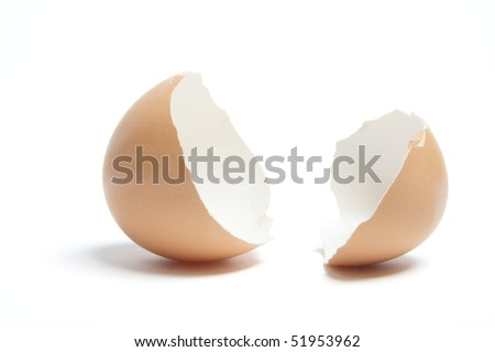 Egg Shells on White Background - stock photo