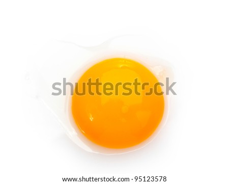 Egg yolk closeup isolated on white - stock photo