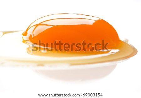 Egg yolk on a white background. - stock photo