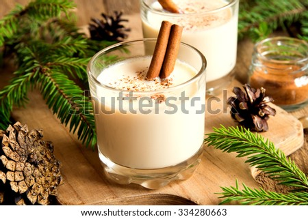 Eggnog with cinnamon for Christmas and winter holidays - stock photo