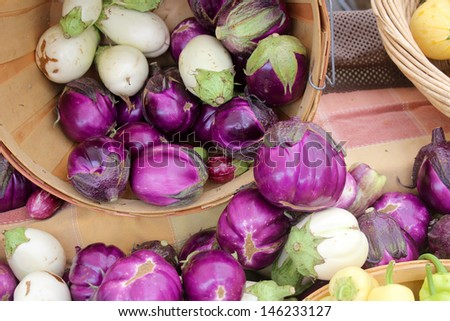 Eggplant at the Santa Barbara Farmer's Market - stock photo