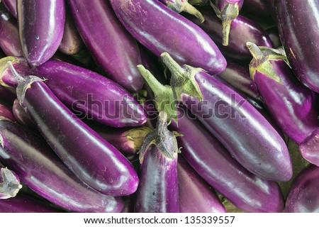 Eggplant Brinjal Vegetable Closeup Background - stock photo