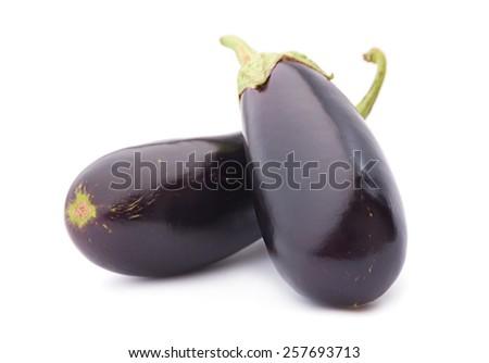 Eggplant vegetable closeup isolated on white background - stock photo