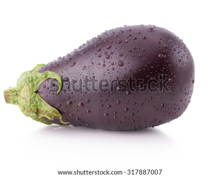 eggplant with water drops isolated on the white background - stock photo