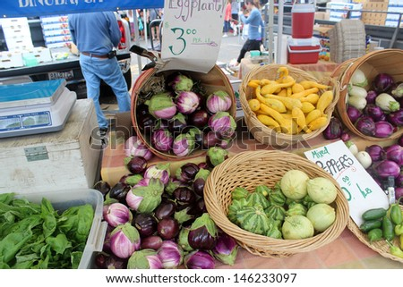 Eggplants and Produce at the Santa Barbara Farmer's Market - stock photo