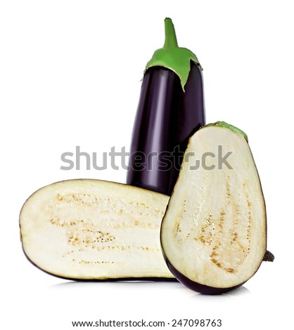 Eggplants isolated on white - stock photo