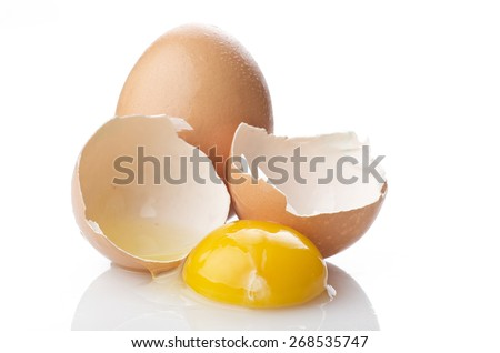 eggs and eggshell close up on the white - stock photo