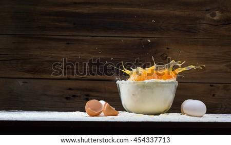 eggs and flour - stock photo