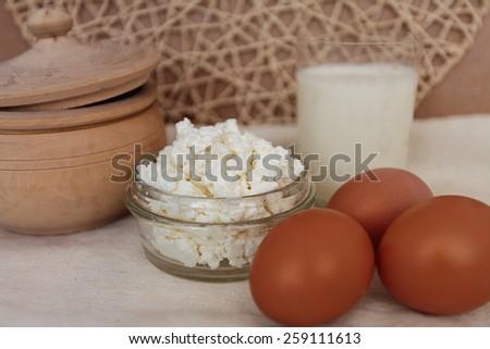 eggs calcium cottage cheese milk village healthy food pot - stock photo