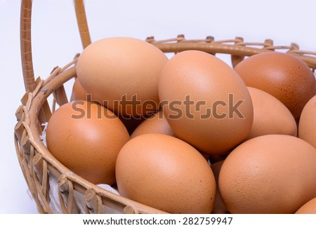 Eggs collection in basket isolated   - stock photo