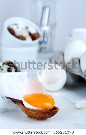 eggs flour milk butter and kitchen utensils - stock photo