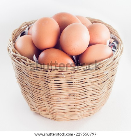 Eggs in a basket on white background - stock photo