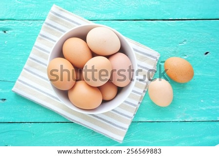 Eggs in a bowl. - stock photo