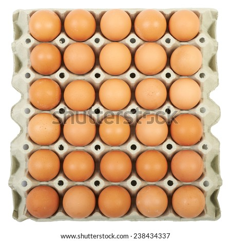 Eggs in a cardboard box isolated on white. - stock photo