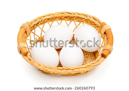 Eggs in basket isolated on white background - stock photo