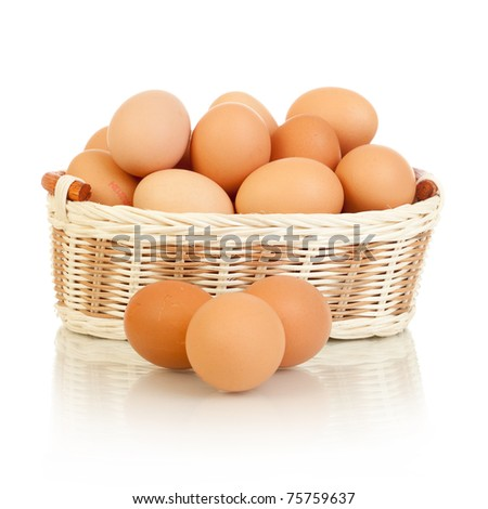 Eggs in basket isolated on white white background - stock photo