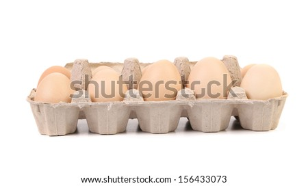 Eggs in protective case foreground close-up. White background. - stock photo