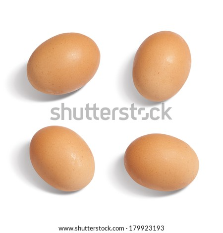 Eggs Isolated on white background from different foreshortenings - stock photo