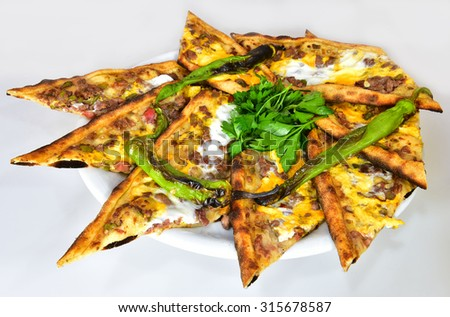 eggs, meat pide - stock photo