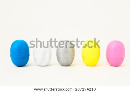 Eggs of a Slot Machine on White Background - stock photo