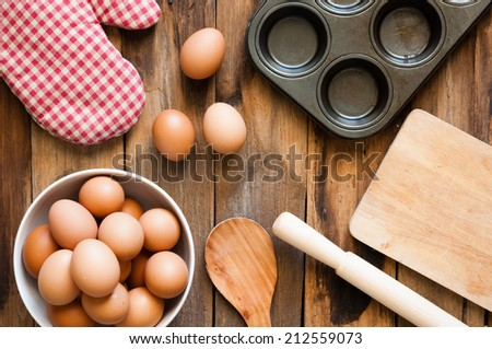 eggs on a wood background - stock photo