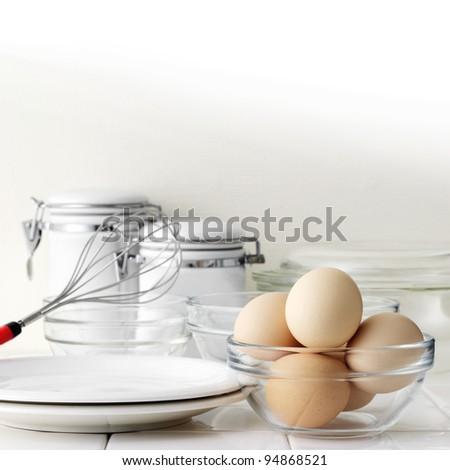 Eggs on kitchen table - stock photo