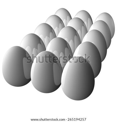 Eggs Reflections - stock photo