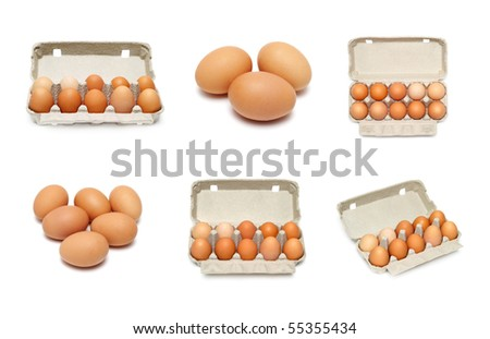eggs set isolated on a white background - stock photo