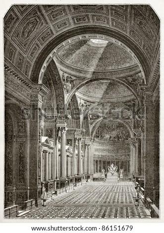 Eglise de la Madeleine interior, old illustration, Paris. Created by Desmarest and Pisan, published on Magasin Pittoresque, Paris, 1843 - stock photo