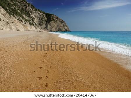 Egremni beach (Lefkada,Greece) - stock photo