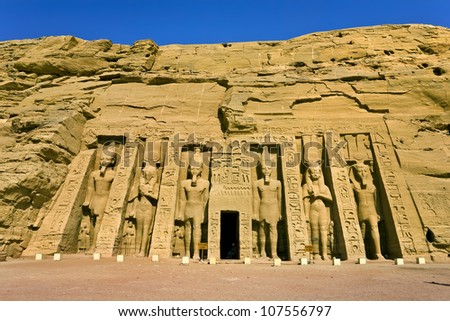 Egypt. Abu Simbel. The Temple of Hathor and Nefertari (the Small Temple) situated on the western bank of Lake Nasser. The Abu Simbel Temples is part of the UNESCO World Heritage Site since 1979 - stock photo