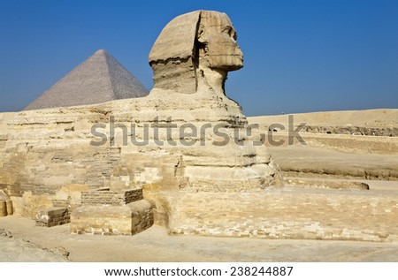 Egypt, archaeological site of Giza, the sphinx - stock photo